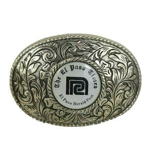 """Western Oval Belt Buckle El Paso 3"""" x 3.5"""" Etched"""